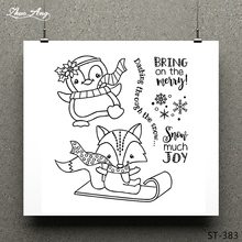 ZhuoAng Winter Animals Clear Stamp for Scrapbooking Rubber Stamp Seal Paper Craft Clear Stamps Card Making winter fox clear stamp set lawn fawn