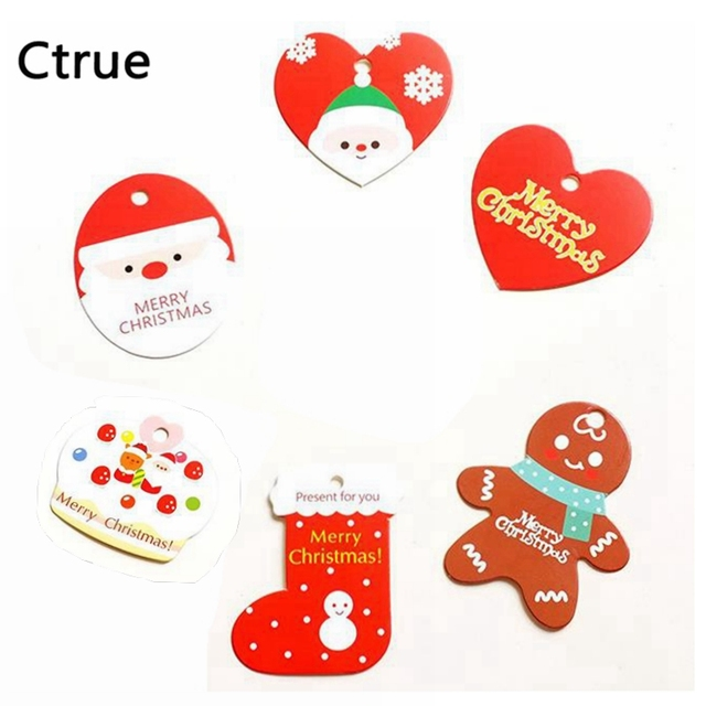 ctrue 50pcs paperboard merry christmas santa claus christmas tag gift tags label marks diy new year