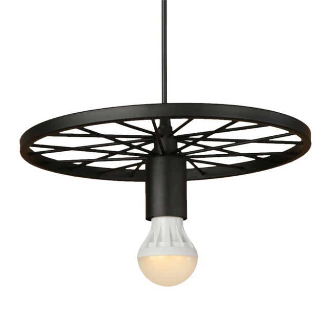 Industrial Loft Style Iron Wheels Droplight Vintage LED Pendant ...