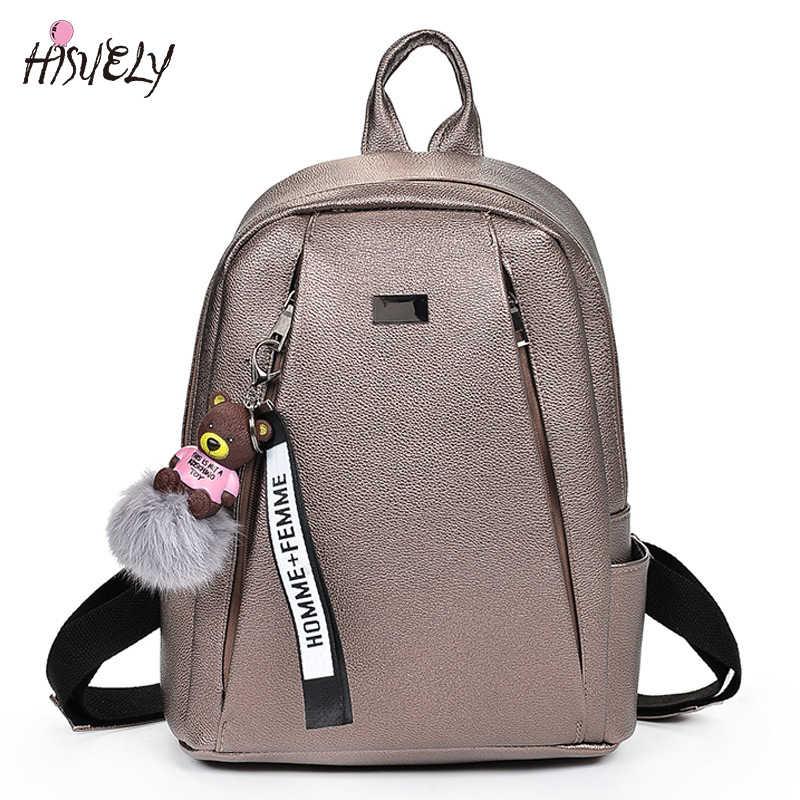 2018 Fashion Gold Leather Backpack Women Black Vintage Large Bag For Female  Teenage Girls School Bag 67fd89a7fe4aa