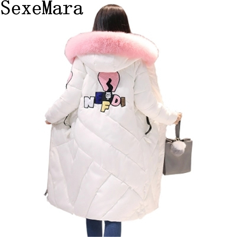 2017 Hooded Winter Jacket for women Long Thicken Warm Autumn Slim Big Fur collar Cotton-padded Parkas coat Girls Jacket C789 warm thicken baby rompers long sleeve organic cotton autumn