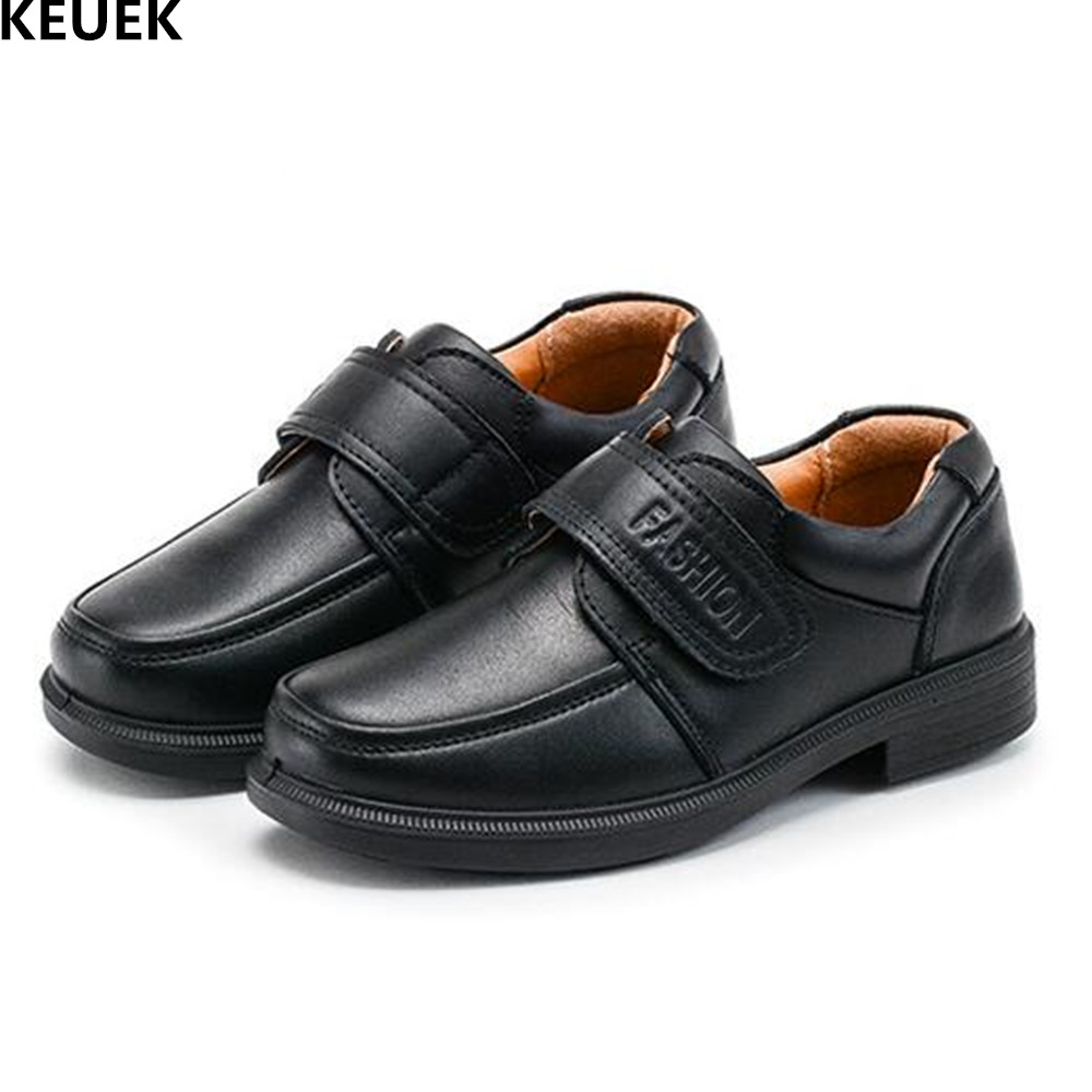 New School Student Black Uniform Shoes Children Genuine Leather Dress Performance shoes Boys Kids Leather Shoes Flat 019 new kids genuine leather shoes 2018 children dress shoes boy formal shoes flat classic sneakers size 26 37 red yellow blue black
