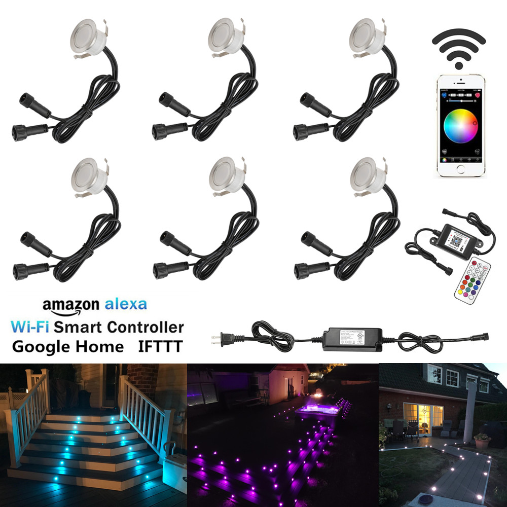 Led Underground Lamps Official Website 6pcs/lot Smart Wifi Phone App Control Rgb/rgbw 31mm 12v Ip67 Kitchen Stair Step Led Deck Rail Lights For Alexa Echo Google Home Lights & Lighting