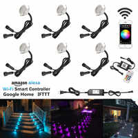 6pcs/lot Smart WIFI Phone APP Control RGB/RGBW 31mm 12V ip67 Kitchen Stair Step LED Deck Rail Lights for Alexa Echo Google Home