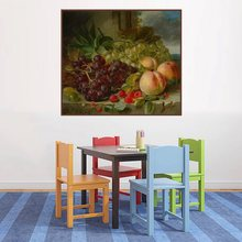 Retro Oil Canvas Painting for Living Room Decor Grapes and Peaches Fruits Still Life Handpainted Posters Prints Office Wall Art