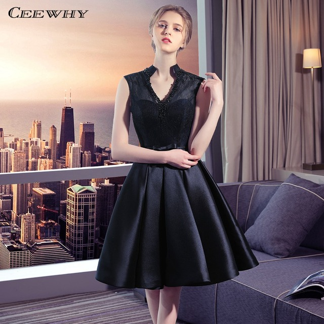 CEEWHY Backless V-Neck Little Black Dress Formal Party Gown Short Lace Prom  Dress Beaded Cocktail Dresses Graduation Dresses c09041185