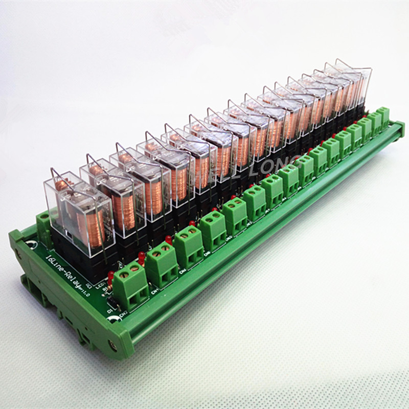 цена на DIN Rail Mount 16 SPDT 16A Power Relay Interface Module,OMRON G2R-1-E DC12V Relay.