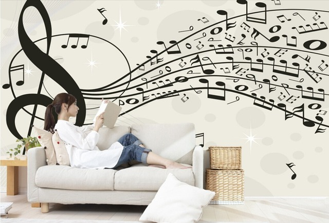Foto sfondo personalizzato, nota musicale, 3D murale moderna per ...