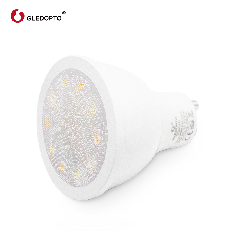 GLEDOPTO factory ZIGBEE ZLL 5W RGBWW CW GU10 LED RGB dual white spotlight AC100 240V work with amazon echo plus and ZIGBEE 3 0 in LED Bulbs Tubes from Lights Lighting