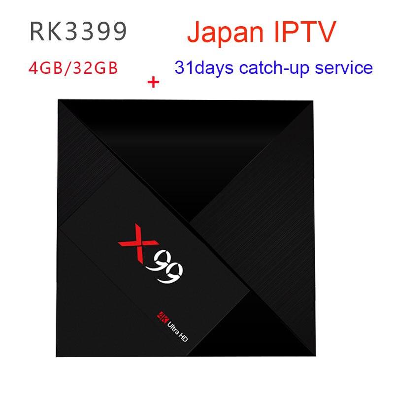 RK3399 X99 4 GB/32 GB Smart Android 7.1 TV BOX uhr Japanischen kanäle unterstützung VOD, 31 tage wiedergabe und 5 tage vorschau-in Digitalempfänger aus Verbraucherelektronik bei  Gruppe 1