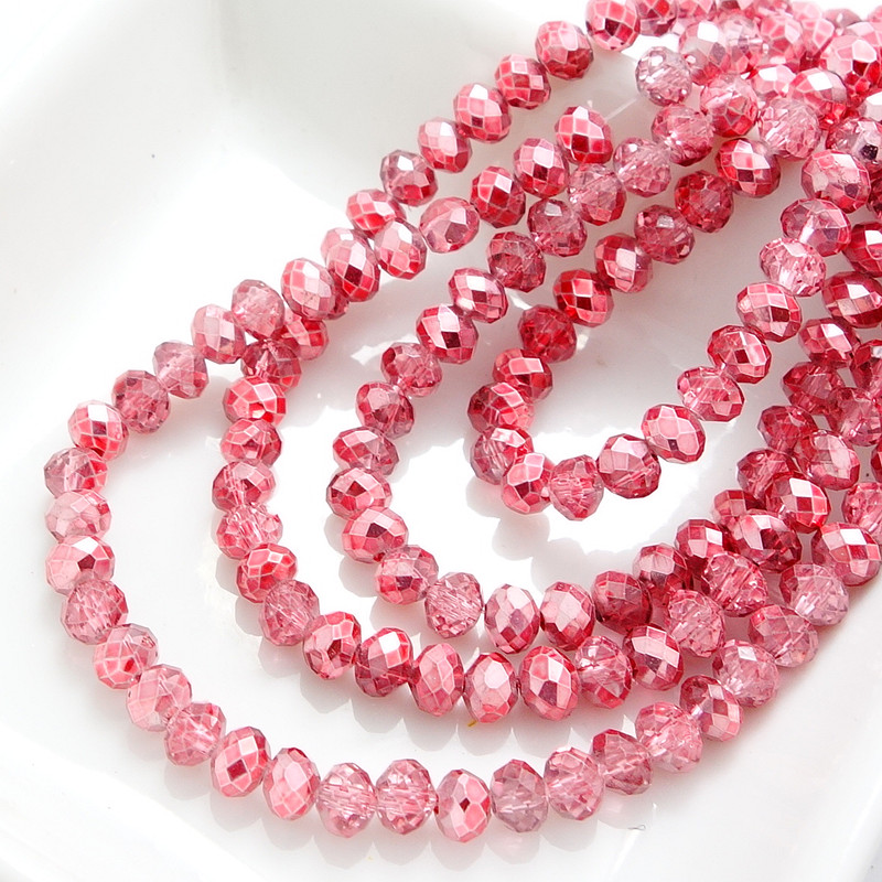 Beads & Jewelry Making Wholesale Half Plated Rondelle Faceted Crystal Glass Loose Spacer Beads 4mm 6mm 8mm 10mm Pink Ture 100% Guarantee