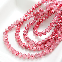Wholesale Half Plated Rondelle Faceted Crystal Glass Loose Spacer Beads 4mm 6mm 8mm 10mm Shallow Red