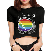Lato Hot Sprzedaż Rainbow Astronauta Rosy Pępek Crop Koszulka krótki rękaw Sexy Crop Top