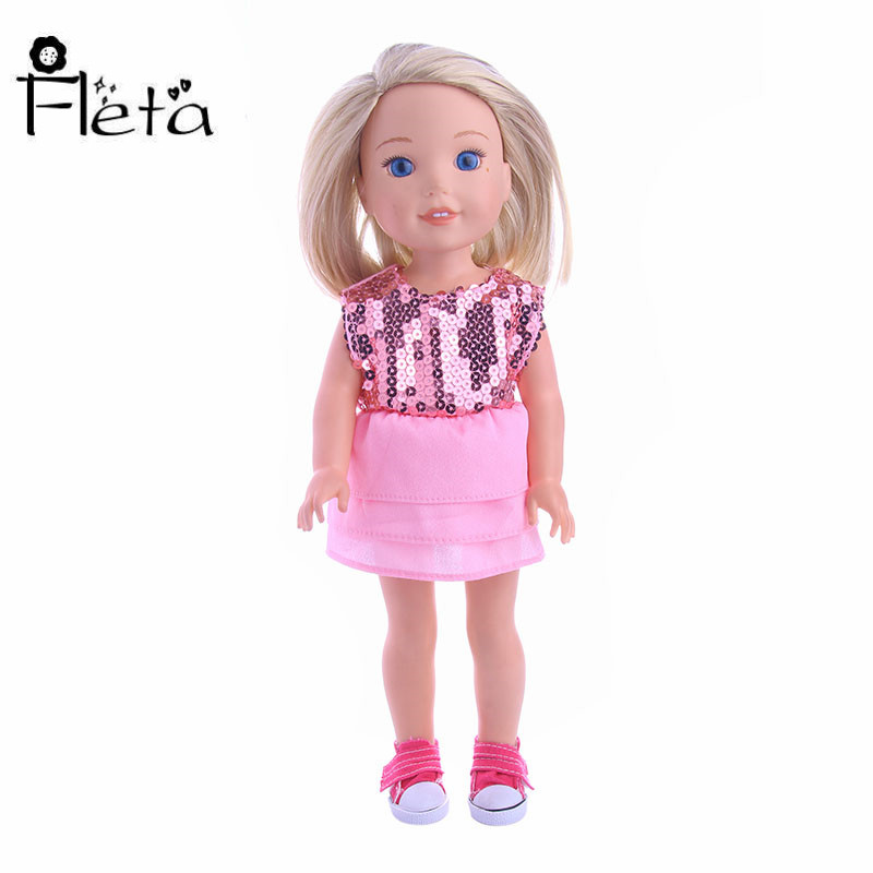 Fleta Doll Handmade Dress Pink Sequined Princess Dress For 14.5 Inches Wellie Wishers Doll New Handmade Accessories