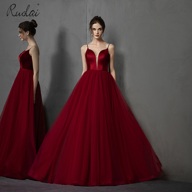 Simple Long Prom Dresses 2019 Deep V-Neck A-Line Formal Party Gowns Burgundy Evening Dress vestidos largos de robe de soiree 1
