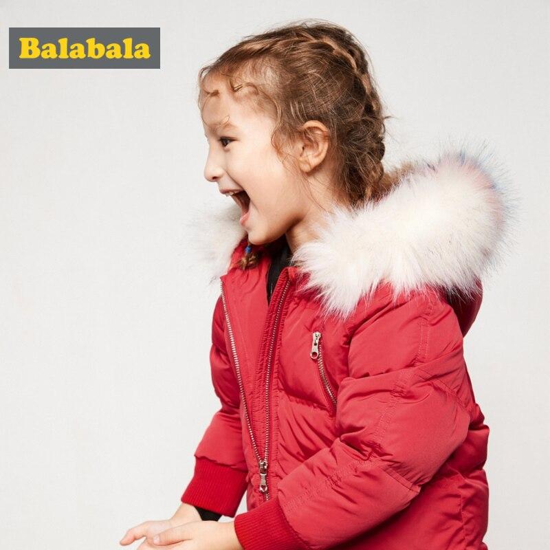 Balabala 幼児女の子霜送料ロング取り外し可能なフェイクファートリムでフードフード付きアップジャケットとオープンポケット  グループ上の ママ & キッズ からの ダウン & パーカー の中 1