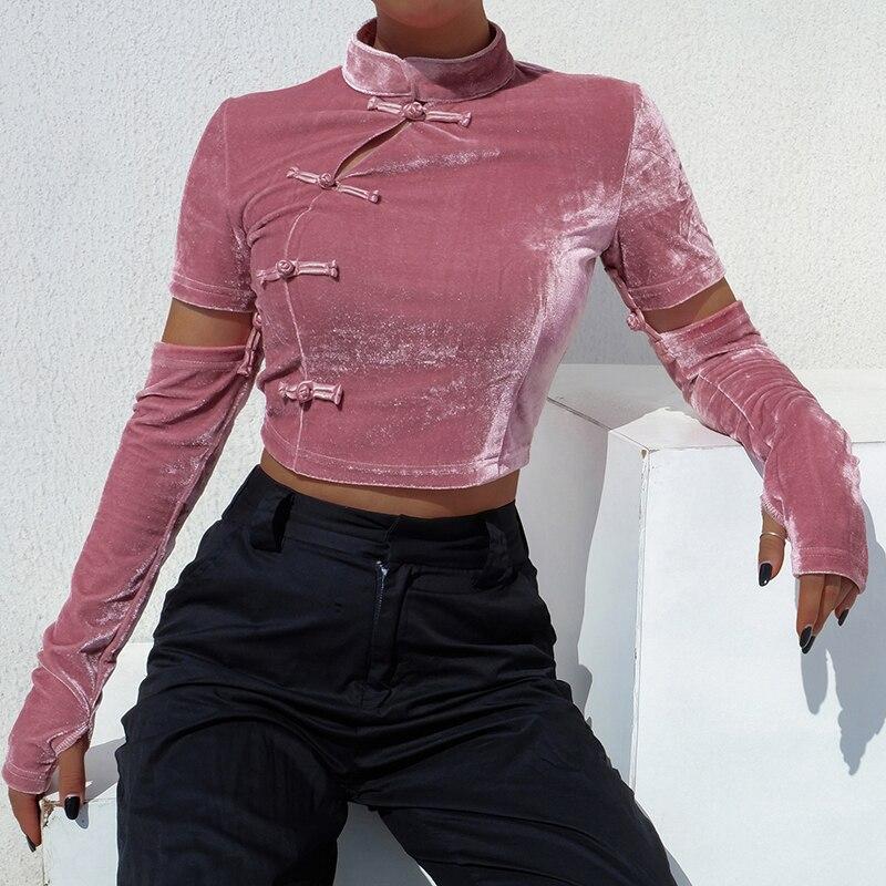 Long Sleeve Shirt Women Chinese Cheongsam Improvement Chinese Style Corduroy Streetwear Women Long Sleeve T shirt in T Shirts from Women 39 s Clothing