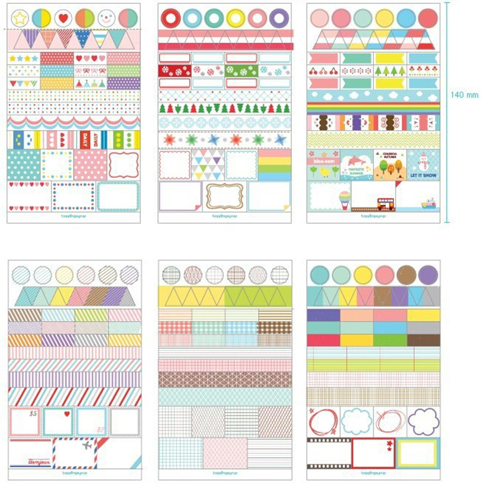 Scrapbook paper book - 6pcs Set Wholesale Hot Sale Diary Book Decor Paper Planner Stickers Transparent Calendar Scrapbook