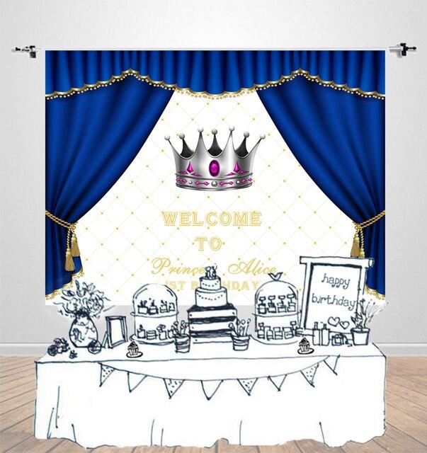 Aliexpress Com Buy Birthday Background Blue Curtain Children