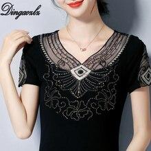 Dingaozlz New Embroidered Shirt Short Sleeve Women Top Korean fashion clothing Plus size Diamond Lace blouse Blusa все цены
