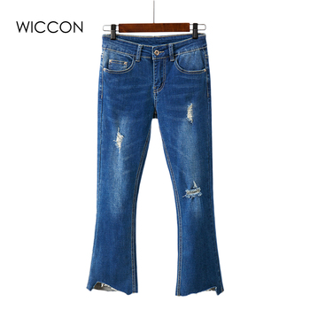 Jeans For Women Flared Stretch Jeans women Bell Bottom Pants Skinny Jeans Ripped Holes Female Summer Sexy Jeans Woman Trousers фото