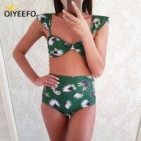 Oiyeefo חדש 2 סגנונות כבוי מותן גבוה כתף ביקיני פרחוני לנשים ירוק עשוי Plavky החוף נשי בגדי ים בגדי ים בגד ים