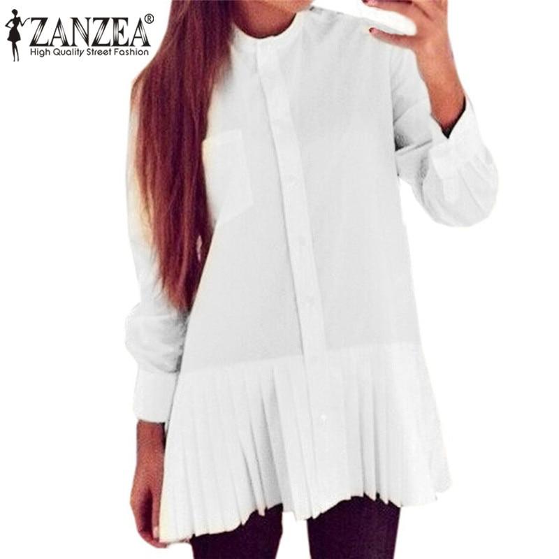 Blusas femininas 2017 mujeres de las blusas de moda camisa blanca de manga larga