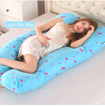 70*130CM Cartoon Maternity Body Support Cotton Pillow Prenatal Bedding Long Cushion Comfortable U-Shaped Belly Protect Pillow