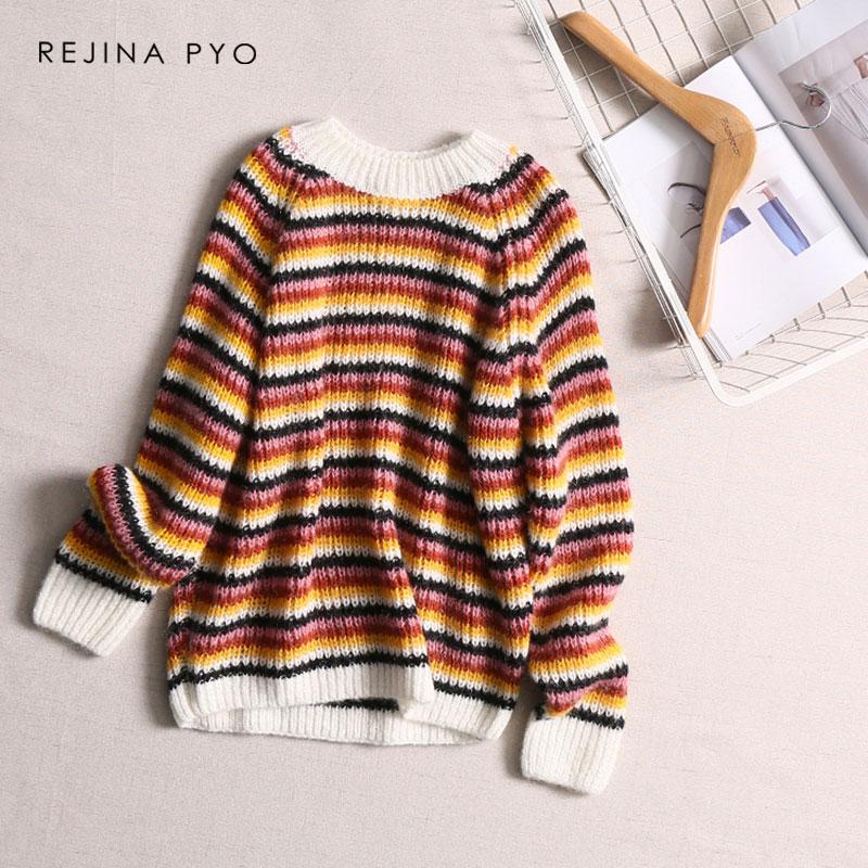 Cuello Suéter Dama Punto Básico Casuales Mujer De Las Moda Mujeres Rejinapyo  Colorido Rayas Jersey gFqS7aYx fd6519e86379