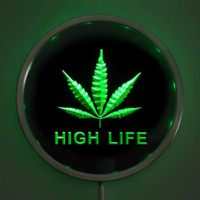 Rs E0006 Hemp Leaf High Life LED Neon Round Signs 25cm 10 Inch Bar Sign With
