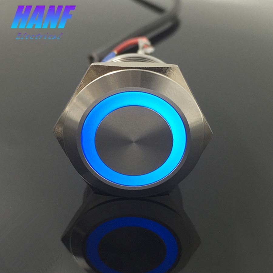 1pcs 22mm 1NONC LED Angel Eye Self-locking Flat Head Metal Push Button Switch with LED Ring Light Waterproof 6Pin