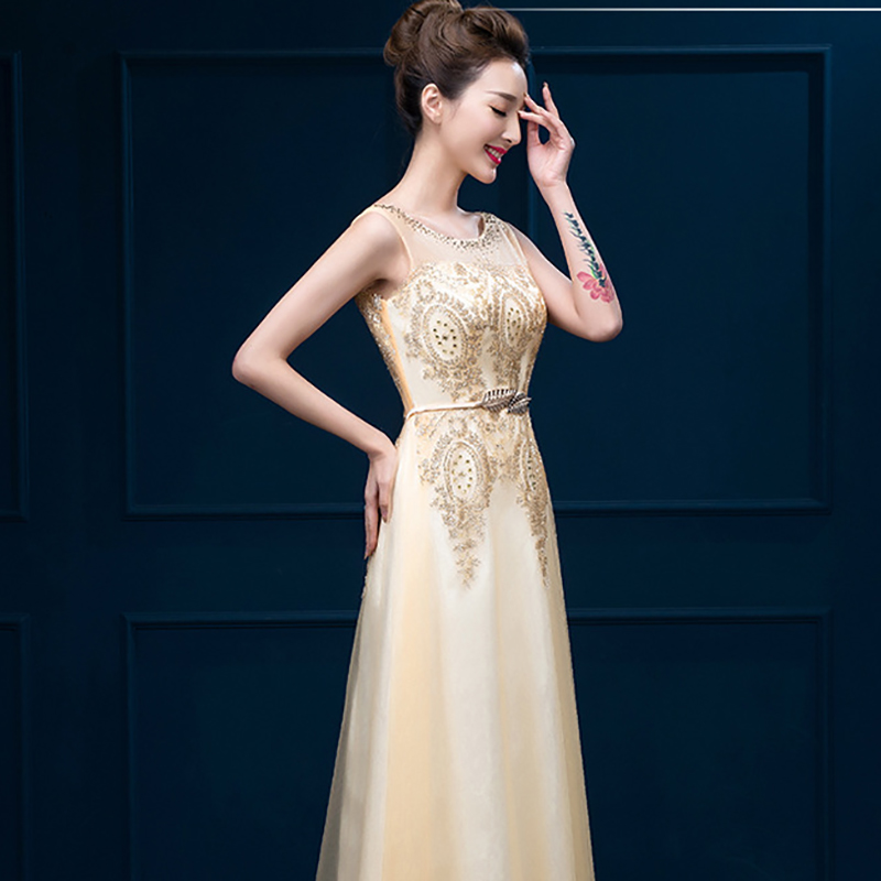 Ameision Tulle Lace Muslim Gold Evening Dresses Long Beading Formal gown Prom Embroidery Robe de Soiree Mother of the Bride in Evening Dresses from Weddings Events