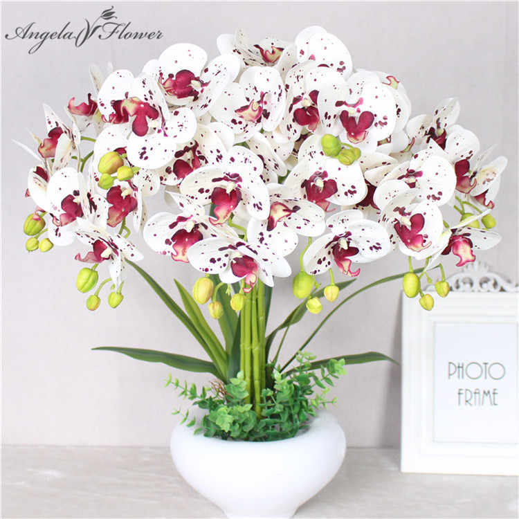 Real touch artificial 5 head/branch butterfly orchid office home Christmas wedding decor PU artificial flower display pot orchid