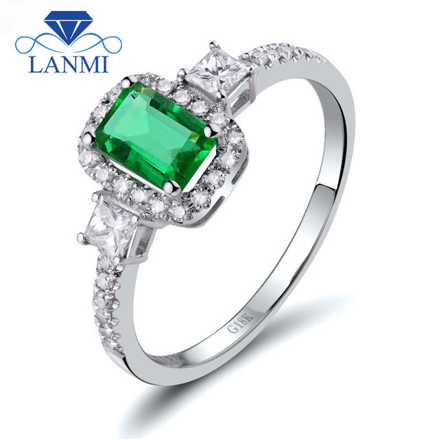 Fine Jewelry Wedding Rings Jewelry Good Gemstone Greenn Emerald Diamond Engagement Ring Solid 18K White Gold Jewelry WU270