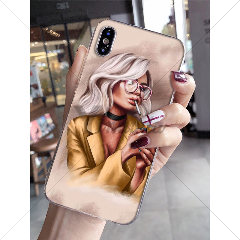 Yinuoda Fashion coffee girl Transparent TPU Soft Silicone Phone Case Cover for Apple iPhone 8 7 6 6S Plus X XS MAX 5 5S SE XR in Half wrapped Cases from Cellphones Telecommunications