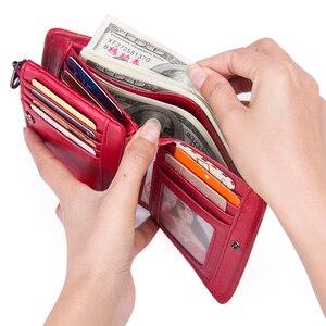Image 5 - קשר של חדש אמיתי עור ארנק עבור נשים בציר מותג קטן קצר גבירותיי ארנק רוכסן כיס מטבע ארגונית ארנקים אדום