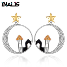 INALIS Unique Luxurious Drop Earrings 925 Sterling Silver Micro Paved Tiny Clear CZ Crystal Star House in Circle Dangle Brincos