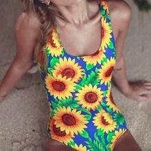 5f487655e65 2017 New Sexy Sunflower Scoop Neck Trikini Bakcless Swim Bathing Suit  Monokini High Cut Thong Swimwear Women Bikini Swimsuit