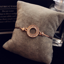 Rose Gold Color Chain Link Bracelet & Bangles for Women Rhinestones Ladies Shining Circular Zircon Crystal Fashion Jewelry Gift