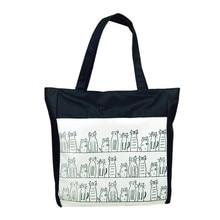 Hot Sale Canvas Cartoon cat Pattern Girls Shopping font b Shoulder b font font b Bags