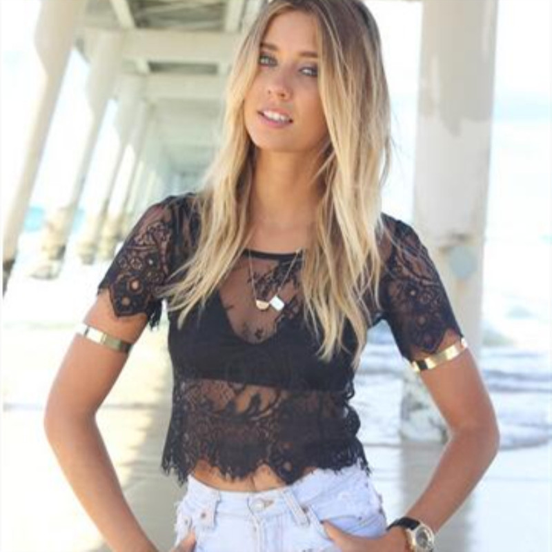 Summer Womens Tops Tank Short Sleeve Elegant Crochet Lace Crop Top Hollow Out Tank Tops Fashion Summer Vest For Womens 2019 Hot