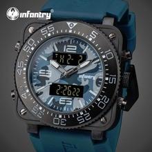 INFANTRY Men Quartz Watches Luxury Camo Style Waterproof Dual Time Digital Watches Blue Rubber Strap Luminous Relogio Masculino