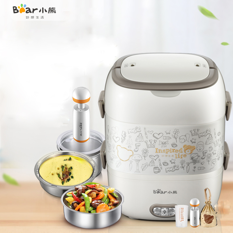Bear DFH-S2017 Electric Box Stainless Steel Liner Electric Lunch Box Heat The Lunch Box Lunch Box Multifunction Large Capacity raccoon electric lunch box independent double layer heat the lunch box stainless steel liner plug in hot lunch box steamer
