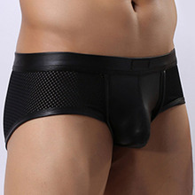 Faux Leather Mens Mesh Small Boxer Shorts Breathable Sexy 2018 New Low Waist U Convex Pouch Male Boxers Underwear