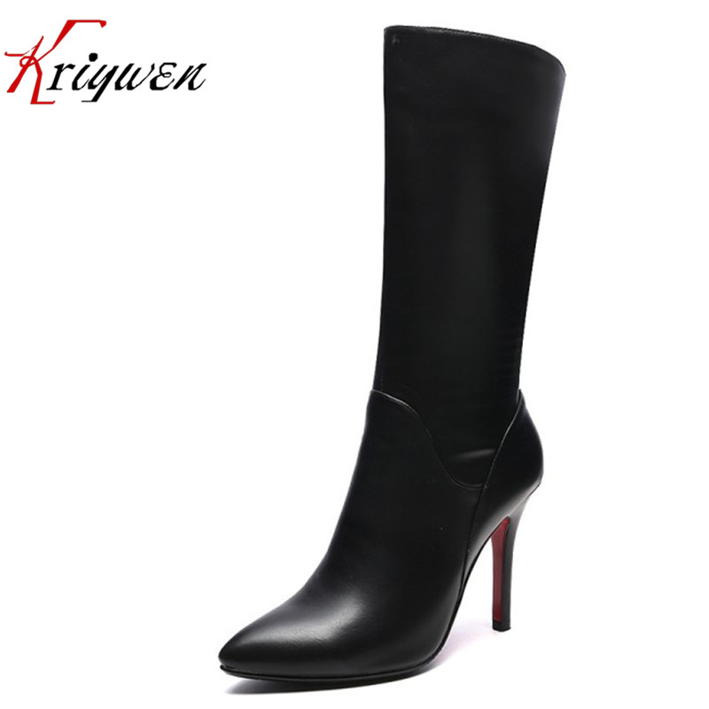 2016 new arrive PU soft leather fashion pointed toe riding boots women shoes thin high heels mid -calf fashion boots botas femme riding boots chunky heels platform faux pu leather round toe mid calf boots fashion cross straps 2017 new hot woman shoes