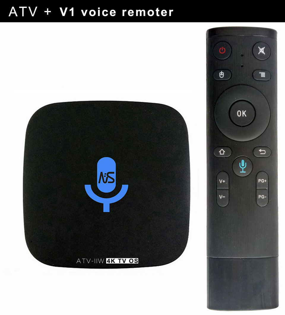 1pcs ATV-IIW S905W 4K Voice Control Smart Android TV OS box Streaming Box Support Google Play Youtube Netflix