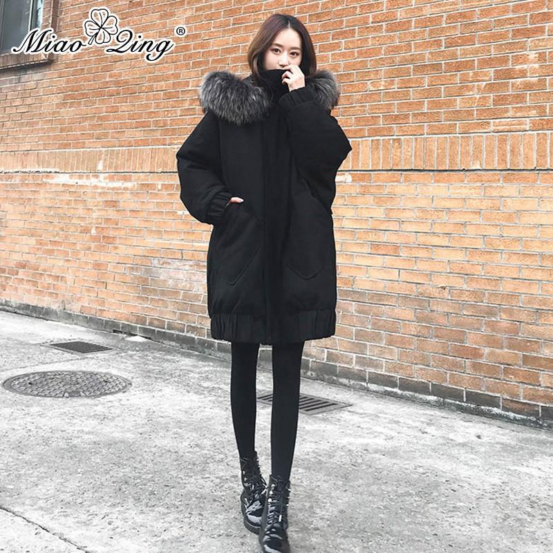 MIAOQING Korean Winter Coat Women Black Hooded Fur   Parka   Oversized Puffer Jackets Black Long Coats Overcoat Plus Size Clothes