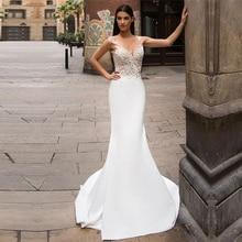 Mermaid Wedding Dress 2020 Appliques Lace V Neck Chiffon vestidos de novia Bride Dress Sleeveless Sexy Backless Wedding Gowns