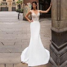 Mermaid düğün elbisesi 2020 aplikler dantel V boyun şifon vestidos de novia gelinlik kolsuz seksi Backless gelinlikler
