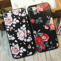 Moda 3D relieve suave TPU Rosa Blanca Flor Floral funda para iPhone 5 5S 5SE 6 6 S 7 8 funda trasera de teléfono de silicona Retro Plus X 10